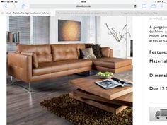 Paris leather right hand corner sofa tan Corner Sofa Tan, Corner Sofa Modern, Corner Sofa Living Room, Corner Sofa Design, Leather Corner Sofa, Modern Sofa, Leather Sofa, Home Living Room, Living Room Designs