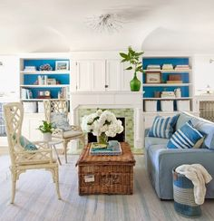 Basket coffee table for coastal style living.