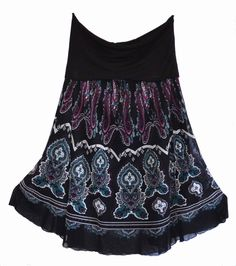 Free Postage (Size 16) Suzanne Grae Black Maxi Skirt - Indie Gothic Pattern