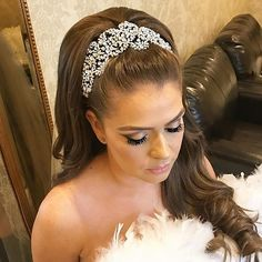 Our beautiful bride Medina looking fabulous with her retro-glam hair style and  crystal encrusted bridal headpiece by Bridal Styles Boutique. Down do by Senada K,   makeup by Vjollca Makeup.