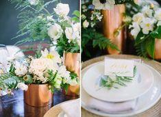 Fern place card + brass floral vessels