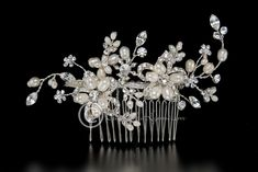 Bridal Hair Comb with Pearl Rhinestone Flowers