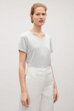 COS image 7 of Silk jersey t-shirt in Light Grey