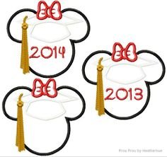 Graduation Miss Mouse plain, 2013, and 2014 THREE Machine Applique Embroidery Designs, Multiple sizes including 4 inch