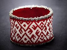 Bangle Seed beads Bracelet ANCIENT LATVIAN SIGNS by CosmicGeometry, $242.00