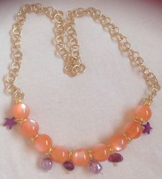 "collana perle e catena con ciondoli ""orange"""