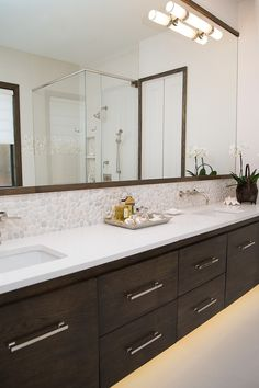 Master bathroom remodel; vanity; sink; countertop; mirror | Interior Designer: Carla Aston / Photographer: Tori Aston