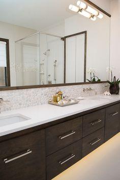 Master bathroom remodel; vanity; sink; countertop; mirror| Interior Designer: Carla Aston / Photographer: Tori Aston