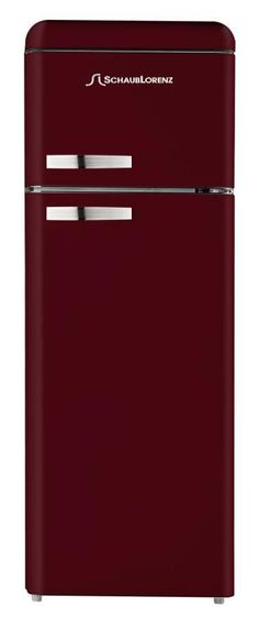 Don't you just love this bordeaux Schaub Lorenz refrigerator? And it has a built-in freezer at the top!