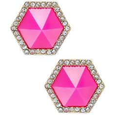 Abs by Allen Schwartz Color Pop Pave Hexagon Stud Earrings ($35) ❤ liked on Polyvore featuring jewelry, earrings, pave stud earrings, post earrings, studded jewelry, earrings jewelry and gold tone jewelry