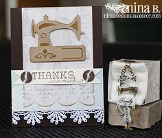 http://tiny.cc/SB-PreOrder ~~ Designer Nina has been very creative with these new dies from Spellbinders: Sewing Elements and Home Sweet Home! What do you think she made? Check out what she did at http://tiny.cc/SB8-Nina ~~ Don't forget to head over to our website to pre-order all of your favorites!!
