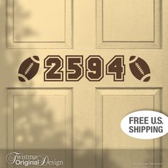 Football Door Number Decal - Vinyl House Number, Custom Door Sign Sports Decor, Football Decor Varsity Style Numbers, Unique House Numbering. $20.00, via Etsy.