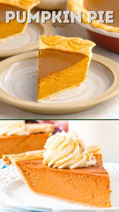 This Pumpkin Pie Recipe is perfect for fall and Thanksgiving! A smooth and creamy spiced pumpkin custard filling baked in a flaky pie crust. Best Pumpkin Pie Recipe, Perfect Pumpkin Pie, No Bake Pumpkin Pie, Baked Pumpkin, Pumpkin Dessert, Pumpkin Recipes, Spiced Pumpkin, Custard Pumpkin Pie Recipe, Pumpkin Pie Crust