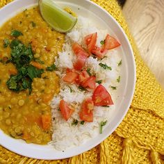 lentil dahl with cilantro/lime.