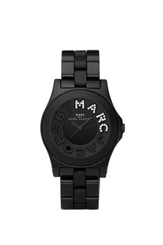 Marc by Marc Jacobs Black Rivera with Glitz 'Marc' Watch