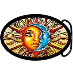 Oval Celestial Sun Moon Belt Buckle