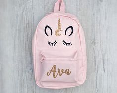 Personalised Kids Pink Unicorn Mini Backpack - Custom Girls Children s  School Bag - Glitter Name School 1ce4290247008