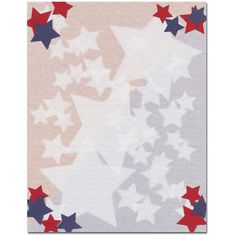This computer printer paper stock features a red, white and blue stars screened into the background of the sheet, with bright colorful red and blue stars in each corner of the sheet. The 8 1/2″ x 11″ stationery paper runs smoothly through inkjet printers, laser printers and copiers.