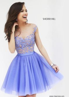 Sherri Hill 11171 - Periwinkle Embroidered Short Dress - RissyRoos.com