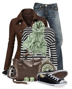 Stripes and Denim Fall Outfits