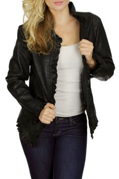 Black Ruffle Pleather jacket EVERYTHING IN STORE 30% OFF NOW THROUGH THE END OF JANUARY 2014