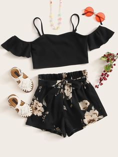 Belted Shorts, Boho Shorts, Tween Fashion, Fashion Outfits, Kids Bridesmaid Dress, Floral Tops, Floral Prints, Short Models, Teen Girl Outfits