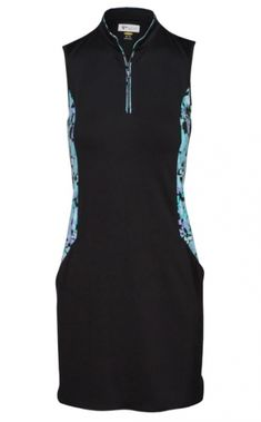 Unique, Pretty Colors are the highlight of the (BRAND) ladies golf collection just like this BUTTERFLY EFFECT (Black) Greg Norman Ladies Chrysalis Sleeveless Golf Dress!