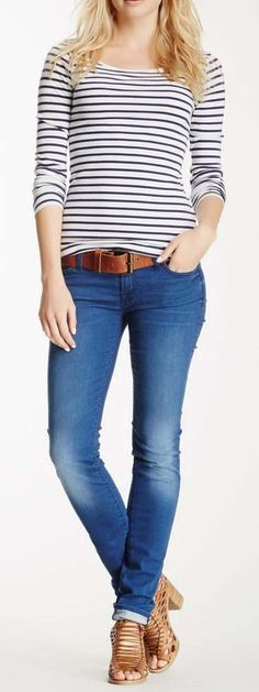 This would make a great airplane travel day outift - relaxed, yet stylish - Roxanne Classic Skinny Jean