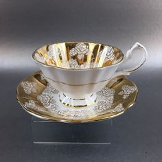 Queen Anne Heavy Gold Roses Bone China Teacup & Saucer England Vintage Tea Cup