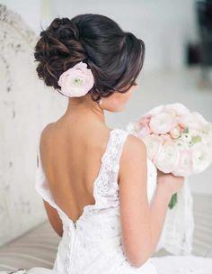 Wedding up do Idea hairstyle Hairdo Wedding, Mod Wedding, Wedding Hair And Makeup, Bridal Hair, Hair Makeup, Bridal Updo With Veil, Trendy Wedding, Simple Wedding Updo, Wedding Up Do