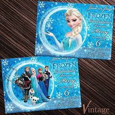 Frozen Disney Birthday Party Invitation Card Elsa Anna Olaf Sven Kristoff Hans