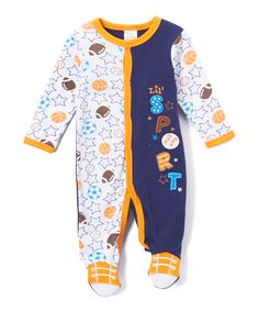 Look at this Baby Mode Blue & Orange 'Sport' Color Block Footie - Infant on #zulily today!
