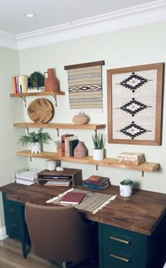 Office Wall Shelves, Wall Shelf Decor, Office Wall Decor, Living Room Wall Shelves, Decorative Wall Shelves, Wall Decor Boho, Gallery Wall Shelves, Bedroom Shelving, Shelving Decor