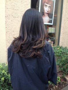 Virgin black hair to subtle brown balayage ombré by Doris