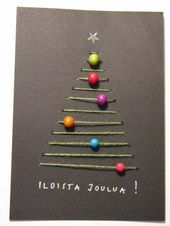 Designing Christmas cards with pearls: These ideas are simple and cool! - embroider yarn christmas tree beads thread ornaments decoration B - Christmas Tree Beads, Diy Christmas Cards, Noel Christmas, Christmas Tree Decorations, Natural Christmas, Christmas Design, Diy And Crafts, Christmas Crafts, Crafts For Kids
