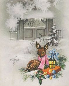 Little fawn, snow, lantern, Christmas gift  - vintage holiday card