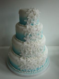 Snowflake Lustre Wedding Cake   ~  using edible glitter and lustre to make the whole cake sparkle and shine like snow and ice
