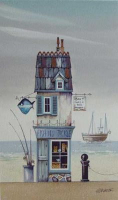 Gary Walton watercolour 'Fishing Tackle'
