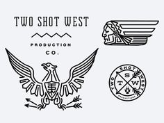 Dribbble - TwoShotWest by Keith Davis Young, Eagle, bird, Illustrator, Lines, Arrows, Mountains, Indian, Logo