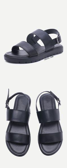 Strap Pu Flat Sandals