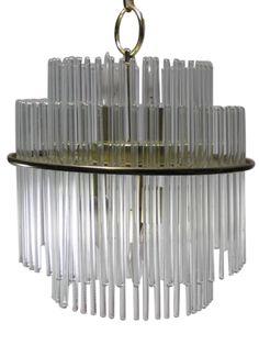 Gaetano Sciolari Brass Glass Chandeliers - A Pair on Chairish.com