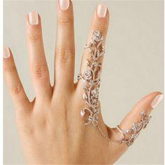 bd2dcdb9d8e Barato Nova moda acessórios Chain Link strass plena flor do Vintage duplo  anel de dedo para
