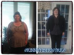 """Sharon's Skinny Fiber update!   """"Down to 260 i dont believe in the scale i go by the pic said all I was very skeptical about trying another product many do not work I was always over weight health problem just kept coming chronic venous insufficient it was so bad I had to have a venous boot put on for 14 days could not take it off till leg ulcer heal so much pain just could take it anymore and my other leg my knee was degenerating need surgery on it needles did help and back pain from a fall…"""