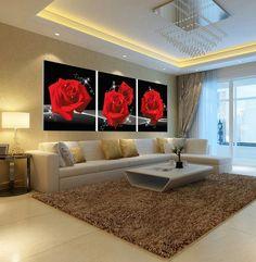 Cuadros-de-la-pared-para-sala-de-estar-restaurante-pintura-moderna-home-Red-rose-imagen-pinturas.jpg (921×941)