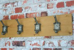 WOOD COAT RAIL with Cast Iron Ornate School by WoodwormShop, £32.00