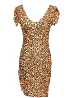 AnnaKaci Glitzy Sequin Party VNeck Short Sleeve Bodycon Mini Dress    Click  image to review e2ce13d36749