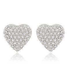 """Amazon.com: Alexander James """"Street"""" Silver-tone Clear Cubic Zirconia Heart Earrings: Jewelry"""