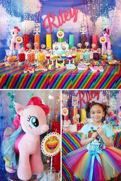 My Little Pony Rainbow party featuring a Sparkle Rainbow theme with rainbow sequin tablecloth and rainbow candy table with a fabulous Rainbow Dash cake. Festa Rainbow Dash, Rainbow Parties, Rainbow Birthday Party, 6th Birthday Parties, Rainbow Candy, Rainbow Theme, 4th Birthday, Birthday Ideas, Rainbow Dash Cake
