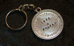 Custom keychain hand stamped silver medallion by EastLakeGifts