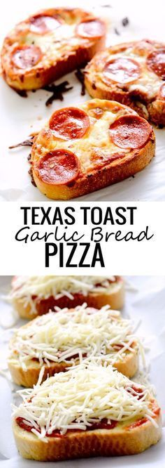 TEXAS TOAST GARLIC BREAD PIZZA - these were surprising my bland. I used chinky marinara and Brett didn't like it Texas Toast Garlic Bread, Garlic Bread Pizza, Healthy Dishes, Mediterranean Diet, Finger Foods, Zucchini, Frosting, Chicken Recipes, French Toast